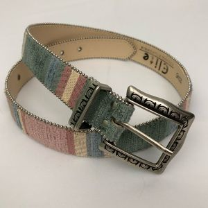 Elite Southwestern Belt Silver Striped Felt Chic